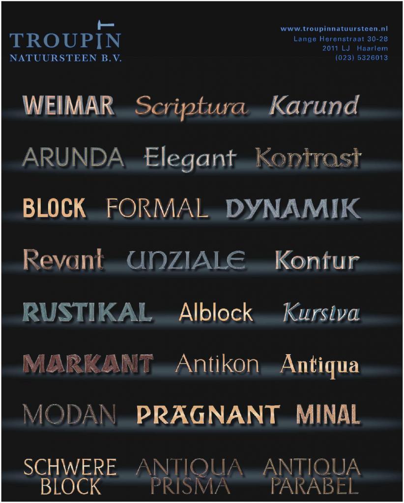 Ambachtelijke Bronzen lettertypen