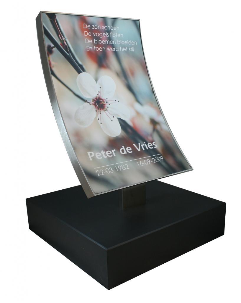 tekstplaat alluminium bedruk in kleur voor grafsteen