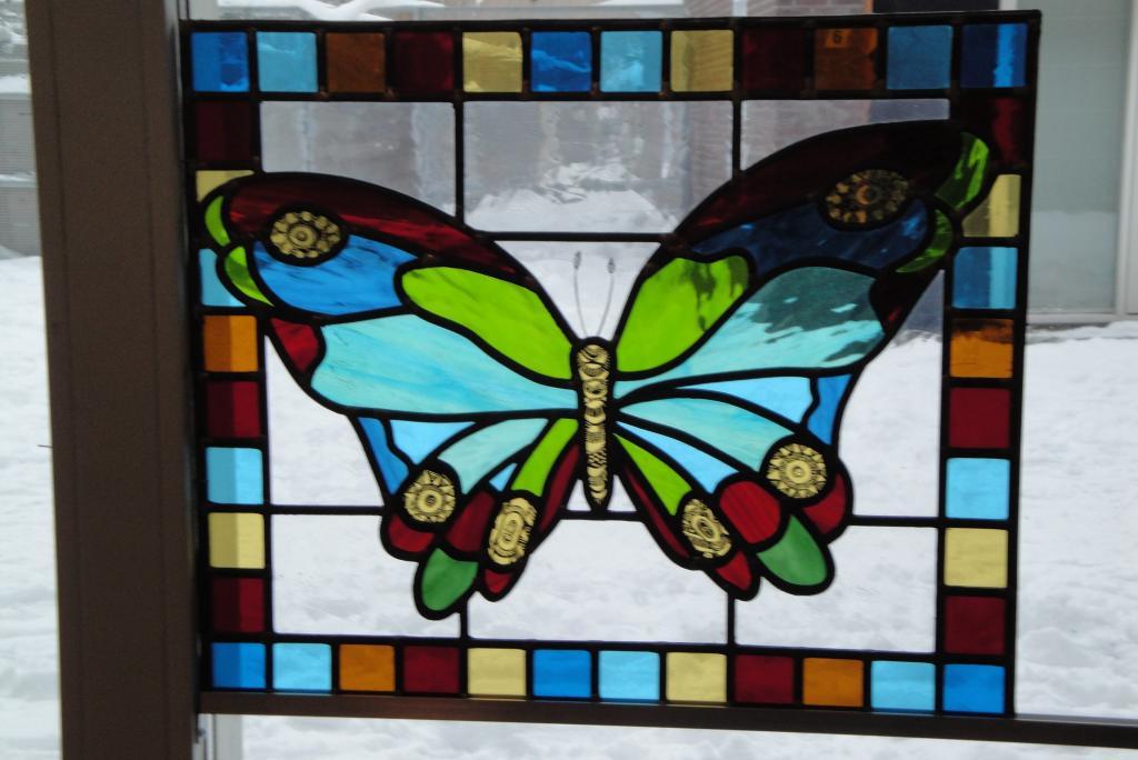 Glas in lood vlinder