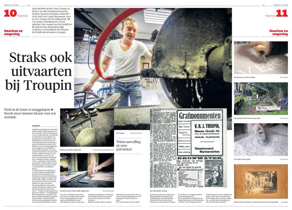 Troupin Natuursteen in Haarlems Dagblad